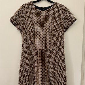 Loft Jacquard Patterned Peplum Dress